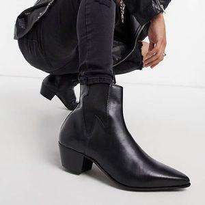 ASOS DESIGN heel western chelsea boots black 12